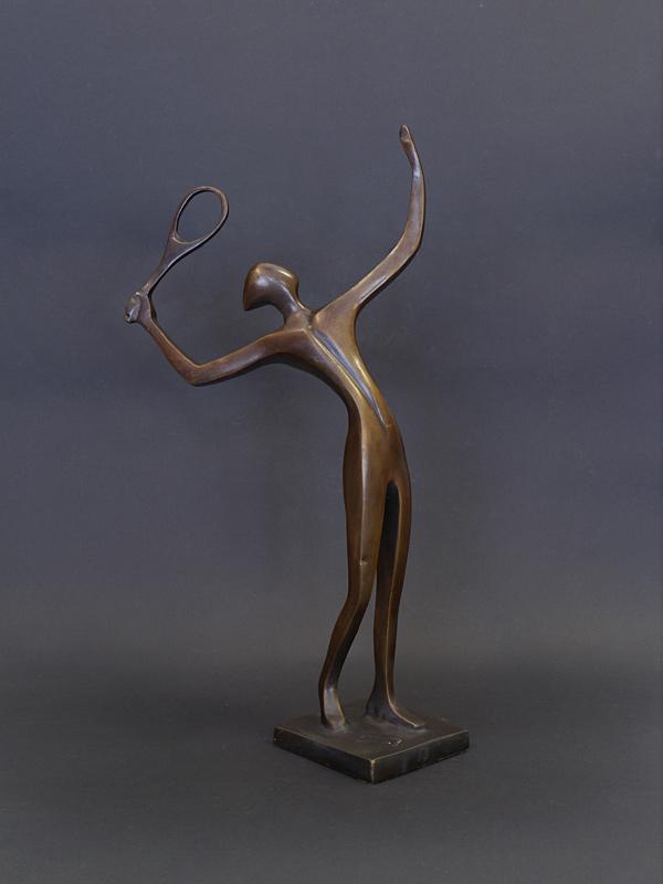 5655 Skulptur Bronze Figur Dekoration Frau mit wehendem Rock mit Marmorsockel