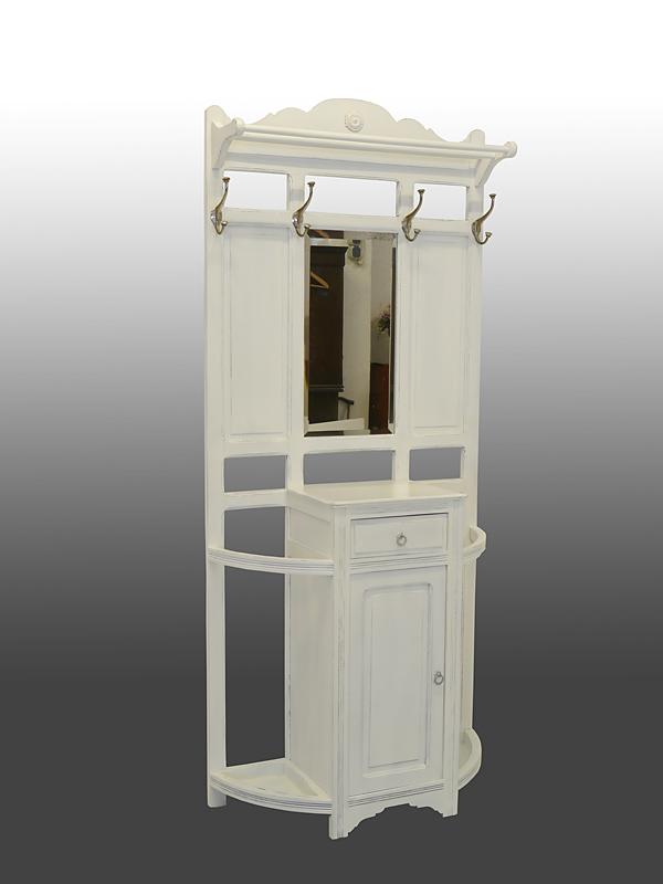 garderobe wandgarderobe flurgarderobe um 1920 shabby chic wei lackiert 8547 ebay. Black Bedroom Furniture Sets. Home Design Ideas