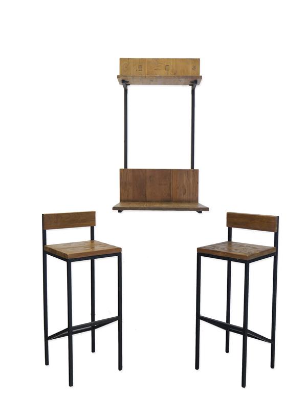 Wandtisch mit 2 Hocker im Industrie-Style