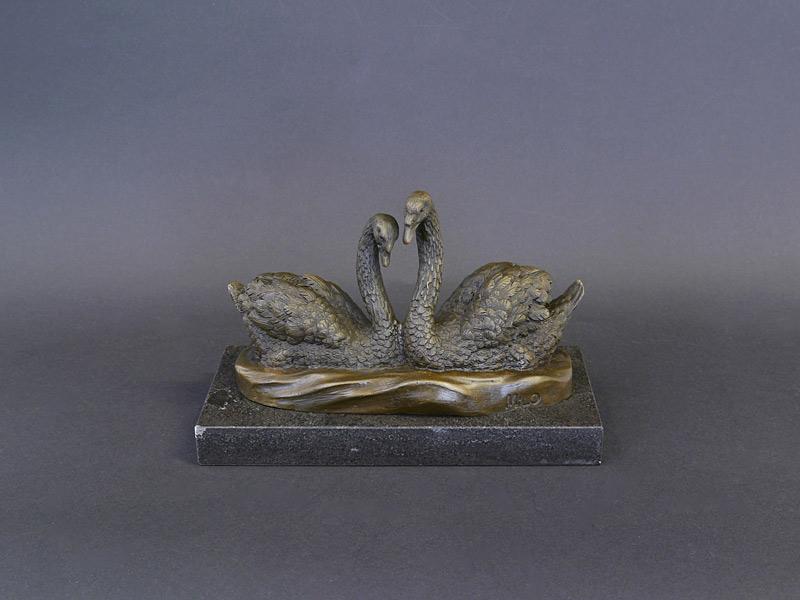 2 Schwäne aus Bronze