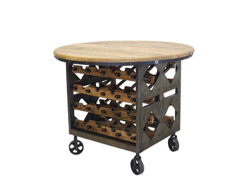 runder Weintisch im Industrie Style