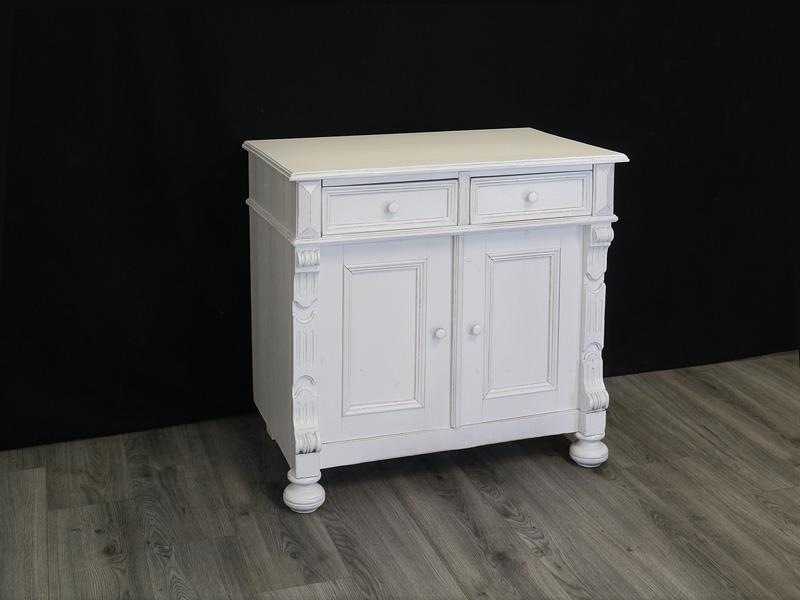 Details zu Anrichte Kommode Vintage Schrank Antik um 1880 Shabby Chic weiß  B: 80 cm (8941)
