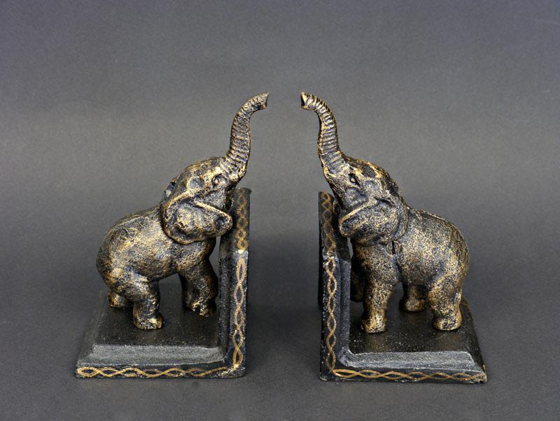 2 Buchstützen mit fröhliche Elefanten