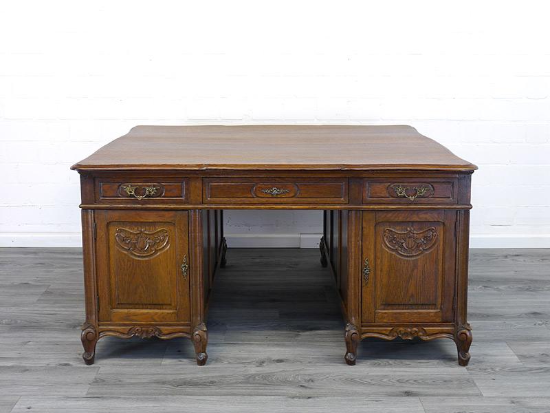 Partner-Schreibtisch aus Eiche