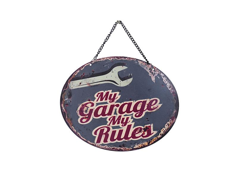 Blechschild meine Garage meine Regeln