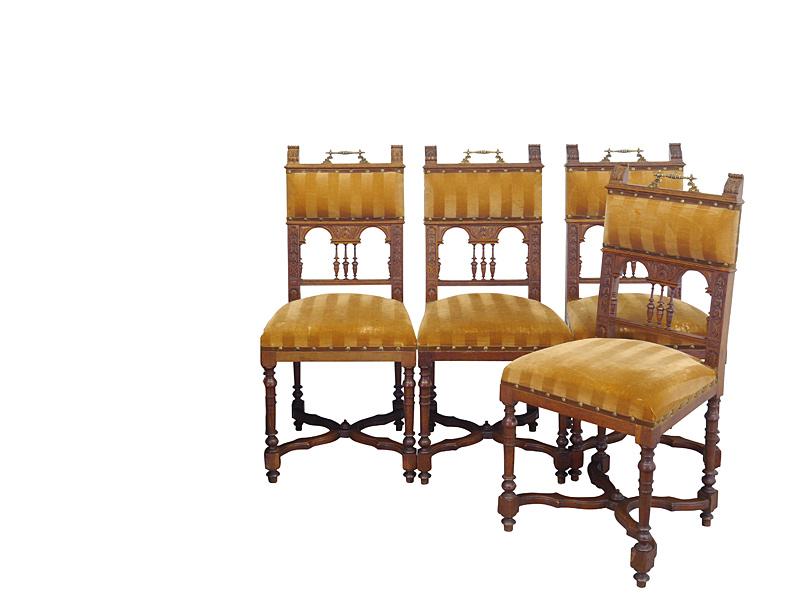 4 Stühle antik Historismus aus Eiche