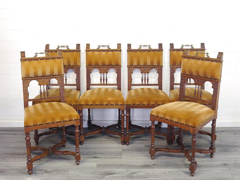 6 Stühle antik Historismus aus Eiche