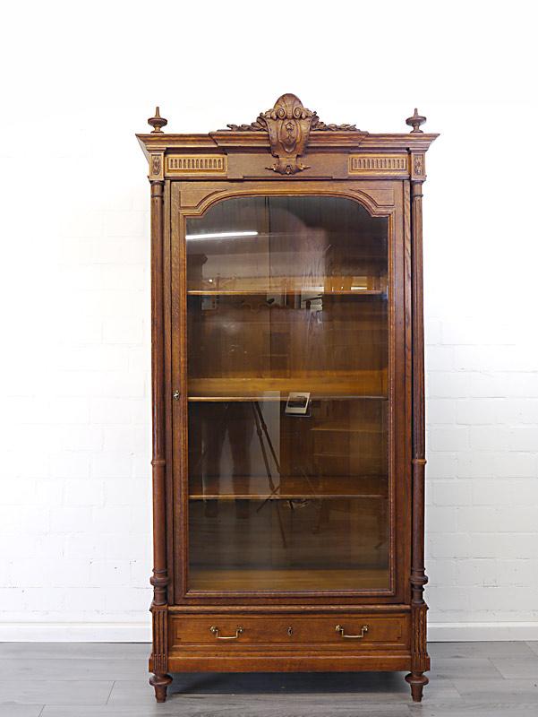Antiker Bücherschrank aus Eiche massiv