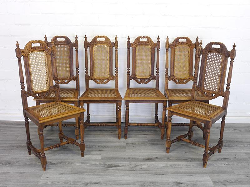 Antike Stuhlgruppe mit 6 Stühlen aus der Gründerzeit
